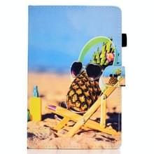 Voor Samsung Galaxy Tab S7 T870 Gekleurde tekening horizontale flip lederen kast met Holder & Card Slots & Pen Slot & Sleep / Wake-up Functie(Pineapple)
