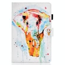 Voor Samsung Galaxy Tab S7 T870 Gekleurde tekening horizontale flip lederen koffer met Holder & Card Slots & Pen Slot & Sleep / Wake-up Function(Aquarel Elephant)
