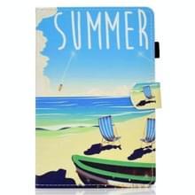 Voor Samsung Galaxy Tab S7 T870 Gekleurde tekening horizontale flip lederen koffer met Holder & Card Slots & Pen Slot & Sleep / Wake-up Function(Beach)