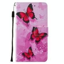 Voor iPod Touch 7 / 6 / 5 Cross Texture Painting Pattern Horizontaal Flip Lederen Case met Holder & Card Slots & Wallet & Lanyard(Pink Butterfly)