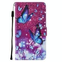 Voor iPod Touch 7 / 6 / 5 Cross Texture Painting Pattern Horizontale Flip Lederen Case met Holder & Card Slots & Wallet & Lanyard(Purple Butterfly)