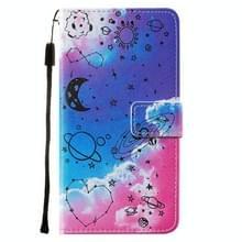 Voor iPod Touch 7 / 6 / 5 Cross Texture Painting Pattern Horizontaal Flip Lederen Case met Holder & Card Slots & Wallet & Lanyard(Love Universe)