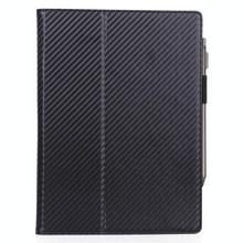 Voor Sony DPT-CP1 10 3 inch (2018) Carbon Fiber Texture PU Horizontale Flip Leather Case met Holder & Pen Slot & Handband(Zwart)