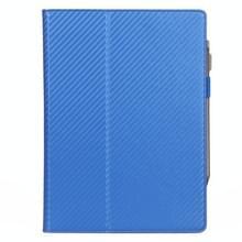 Voor Sony DPT-CP1 10 3 inch (2018) Carbon Fiber Texture PU Horizontale Flip Leather Case met Holder & Pen Slot & Handband(Blauw)