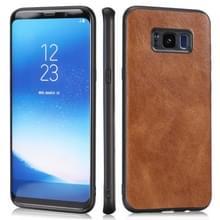 Voor Samsung Galaxy S8 Plus Crazy Horse Textured Calfskin PU+PC+TPU Case(Brown)