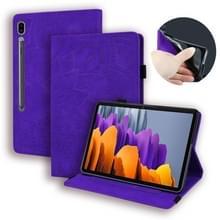 Voor Samsung Galaxy Tab S7+ Kalf texture reliëf horizontale flip lederen case met houder & kaartslots & fotoframe(paars)