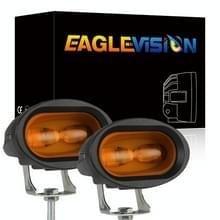 2 PCS DC12-30V / 12W / 6000K Motorcycle Off-road ATV 4 inch LED Oval Lens Spotlight (Geel Licht)