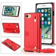 Voor iPhone 6 Polsband PU+TPU Schokbestendige beschermhoes met Crossbody Lanyard & Holder & Card Slot(Rood)