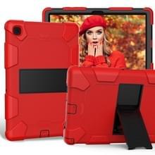 Voor Samsung Galaxy Tab A7 (2020) T500/T505 Schokbestendige siliconen beschermhoes met houder (rood + zwart)