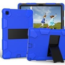Voor Samsung Galaxy Tab A7 (2020) T500/T505 Schokbestendige siliconen beschermhoes met houder(Blauw + Zwart)