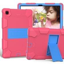 Voor Samsung Galaxy Tab A7 (2020) T500/T505 Schokbestendige siliconen beschermhoes met houder (Rosé Rood + Blauw)