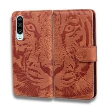 Voor Huawei P30 Tiger Embossing Pattern Horizontale Flip Lederen Case met Holder & Card Slots & Wallet(Brown)