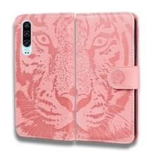 Voor Huawei P30 Tiger Embossing Pattern Horizontale Flip Lederen Case met Holder & Card Slots & Wallet(Pink)