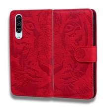 Voor Huawei P30 Tiger Embossing Pattern Horizontale Flip Lederen Case met Holder & Card Slots & Wallet(Red)