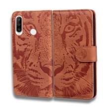 Voor Huawei P30 Lite / nova 4e Tiger Embossing Pattern Horizontale Flip Lederen Case met Holder & Card Slots & Wallet(Brown)