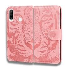 Voor Huawei P30 Lite / nova 4e Tiger Embossing Pattern Horizontale Flip Lederen Case met Holder & Card Slots & Wallet(Pink)