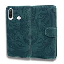 Voor Huawei P30 Lite / nova 4e Tiger Embossing Pattern Horizontale Flip Lederen Case met Holder & Card Slots & Wallet(Groen)