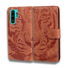 Voor Huawei P30 Pro Tiger Embossing Pattern Horizontale Flip Lederen Case met Holder & Card Slots & Wallet(Brown)