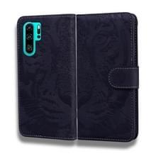 Voor Huawei P30 Pro Tiger Embossing Pattern Horizontale Flip Lederen Case met Holder & Card Slots & Wallet(Zwart)