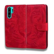Voor Huawei P30 Pro Tiger Embossing Pattern Horizontale Flip Lederen Case met Holder & Card Slots & Wallet(Red)