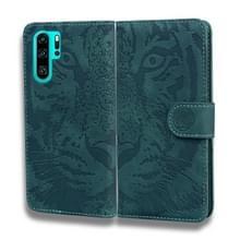 Voor Huawei P30 Pro Tiger Embossing Pattern Horizontale Flip Lederen Case met Holder & Card Slots & Wallet(Groen)