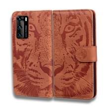 Voor Huawei P40 Tiger Embossing Pattern Horizontale Flip Lederen Case met Holder & Card Slots & Wallet(Brown)