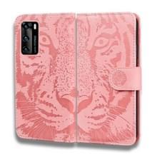 Voor Huawei P40 Tiger Embossing Pattern Horizontale Flip Lederen Case met Holder & Card Slots & Wallet(Pink)