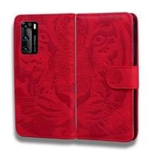 Voor Huawei P40 Tiger Embossing Pattern Horizontale Flip Lederen Case met Holder & Card Slots & Wallet(Red)