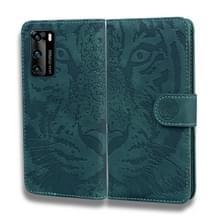 Voor Huawei P40 Tiger Embossing Pattern Horizontale Flip Lederen Case met Holder & Card Slots & Wallet(Groen)