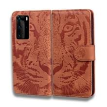 Voor Huawei P40 Pro Tiger Embossing Pattern Horizontale Flip Lederen Case met Holder & Card Slots & Wallet(Brown)
