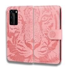 Voor Huawei P40 Pro Tiger Embossing Pattern Horizontale Flip Lederen Case met Holder & Card Slots & Wallet(Pink)