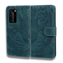 Voor Huawei P40 Pro Tiger Embossing Pattern Horizontale Flip Lederen Case met Holder & Card Slots & Wallet(Groen)