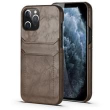 Voor iPhone 12 Max / 12 Pro Kalf Texture PU + PC Beschermhoes met kaartslots(koffie)