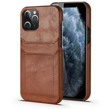 Voor iPhone 12 Max / 12 Pro Kalf Texture PU + PC Beschermhoes met kaartslots(Bruin)