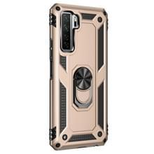 Voor Huawei P40 Lite 5G Schokbestendige TPU + PC Beschermhoes met 360 graden roterende houder(Goud)