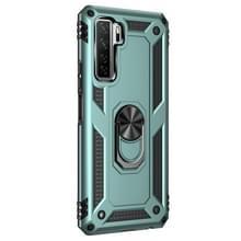 Voor Huawei P40 Lite 5G Schokbestendige TPU + PC Beschermhoes met 360 graden roterende houder (Deep Green)
