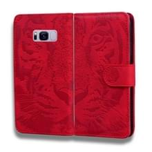 Voor Samsung Galaxy S8 Tiger Embossing Pattern Horizontale Flip Lederen Case met Holder & Card Slots & Wallet(Red)