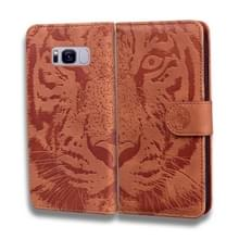 Voor Samsung Galaxy S8 Plus Tiger Embossing Pattern Horizontale Flip Lederen Case met Holder & Card Slots & Wallet(Brown)