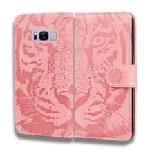 Voor Samsung Galaxy S8 Plus Tiger Embossing Pattern Horizontale Flip Lederen Case met Holder & Card Slots & Wallet(Pink)