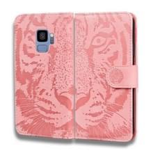 Voor Samsung Galaxy S9 Tiger Embossing Pattern Horizontale Flip Lederen Case met Holder & Card Slots & Wallet(Pink)