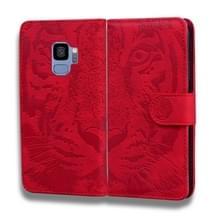 Voor Samsung Galaxy S9 Tiger Embossing Pattern Horizontale Flip Lederen Case met Holder & Card Slots & Wallet(Red)