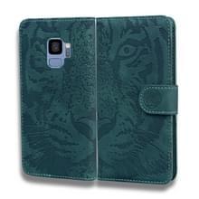 Voor Samsung Galaxy S9 Tiger Embossing Pattern Horizontale Flip Lederen Case met Holder & Card Slots & Wallet(Groen)