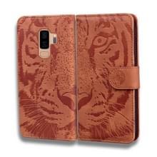 Voor Samsung Galaxy S9 Plus Tiger Embossing Pattern Horizontale Flip Lederen Case met Holder & Card Slots & Wallet(Brown)