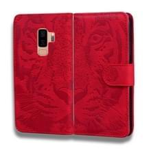 Voor Samsung Galaxy S9 Plus Tiger Embossing Pattern Horizontale Flip Lederen Case met Holder & Card Slots & Wallet(Red)