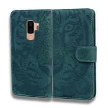 Voor Samsung Galaxy S9 Plus Tiger Embossing Pattern Horizontale Flip Lederen Case met Holder & Card Slots & Wallet(Groen)