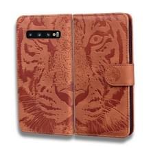 Voor Samsung Galaxy S10 Tiger Embossing Pattern Horizontale Flip Lederen Case met Holder & Card Slots & Wallet(Brown)