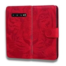 Voor Samsung Galaxy S10 Tiger Embossing Pattern Horizontale Flip Lederen Case met Holder & Card Slots & Wallet(Red)