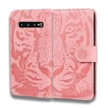 Voor Samsung Galaxy S10 Plus Tiger Embossing Pattern Horizontale Flip Lederen Case met Holder & Card Slots & Wallet(Pink)
