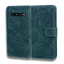 Voor Samsung Galaxy S10 Plus Tiger Embossing Pattern Horizontale Flip Lederen Case met Holder & Card Slots & Wallet(Groen)