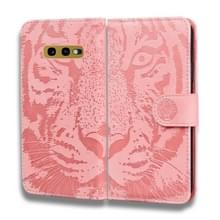 Voor Samsung Galaxy S10e Tiger Embossing Pattern Horizontale Flip Lederen Case met Holder & Card Slots & Wallet(Pink)